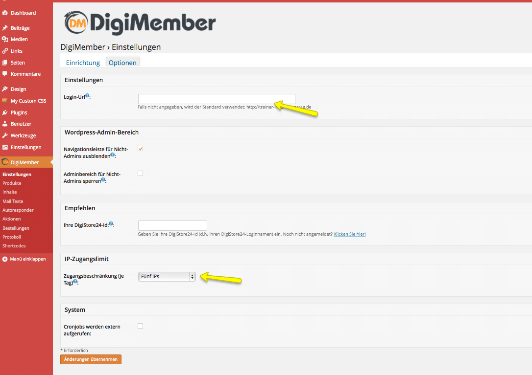 Digimember Einstellung